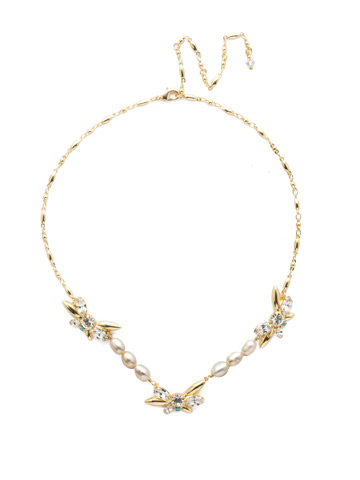 Elisa Necklace in Bright Gold-tone Polished Pearl