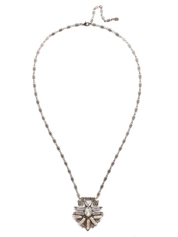 Amalia Necklace in Antique Silver-tone Crystal