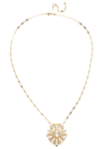 Amalia Necklace in Bright Gold-tone Crystal