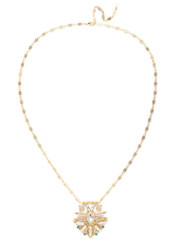Amalia Necklace in Bright Gold-tone Polished Pearl