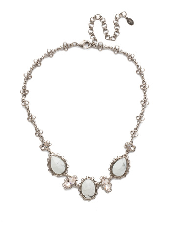 Maria Statement Necklace in Antique Silver-tone Silky Clouds