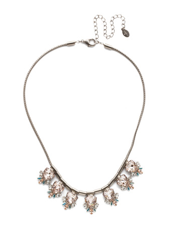 Skylar Line Necklace in Antique Silver-tone Silky Clouds