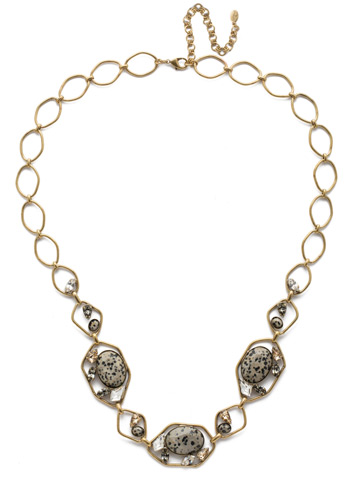 Presley Long Strand Necklace in Antique Gold-tone Natural Elements