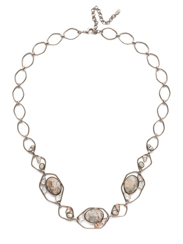 Presley Long Strand Necklace in Antique Silver-tone Silky Clouds