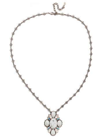 Genevieve Long Strand Pendant in Antique Silver-tone Silky Clouds