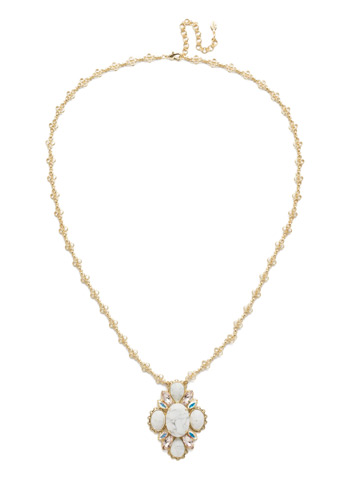 Genevieve Long Strand Pendant in Bright Gold-tone Silky Clouds