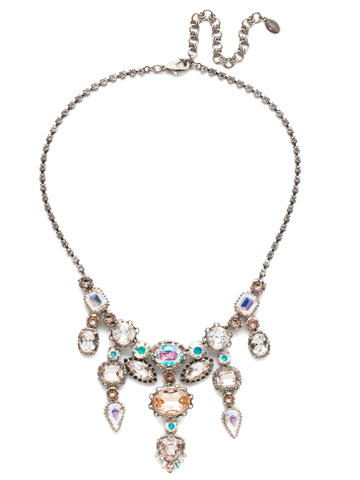 Ursula Statement Necklace in Antique Silver-tone Silky Clouds