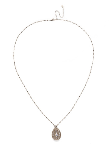 Fiona Long Strand Pendant in Antique Silver-tone Silky Clouds
