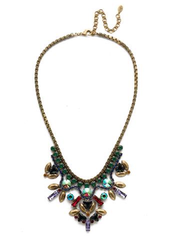 Jeyne Bib Necklace in Antique Gold-tone Game of Jewel Tones