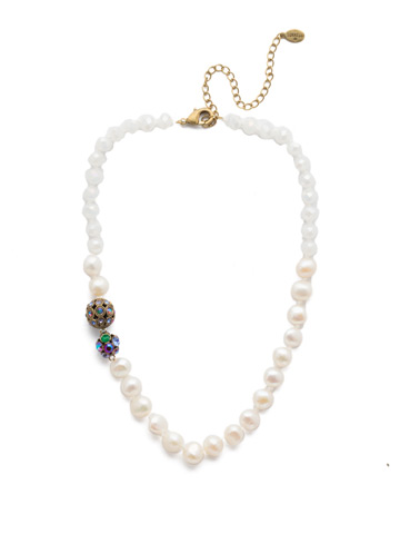 Cailey Classic Necklace in Antique Gold-tone Game of Jewel Tones