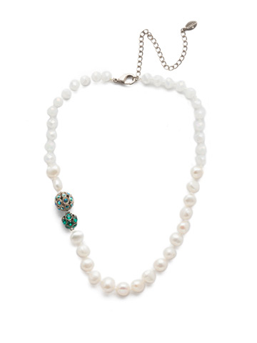 Cailey Classic Necklace in Antique Silver-tone Snowy Moss