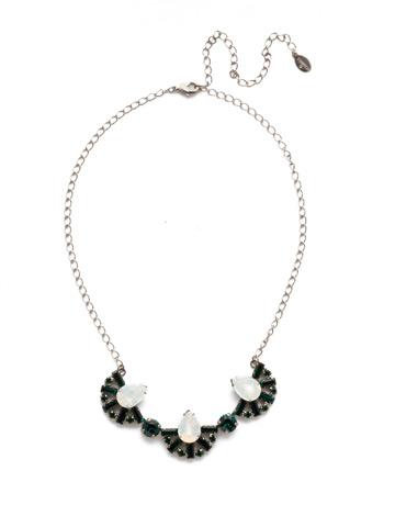 Lysa Bib Necklace in Antique Silver-tone Snowy Moss