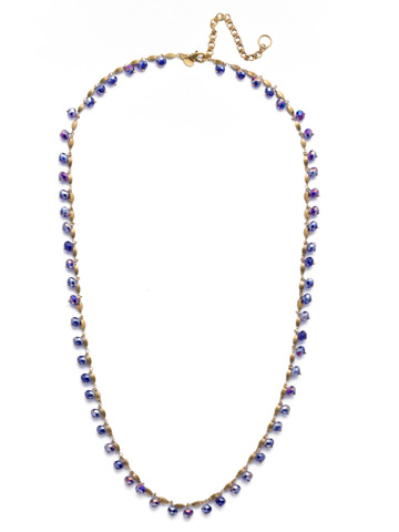 Marjorie Long Strand Necklace in Antique Gold-tone Game of Jewel Tones