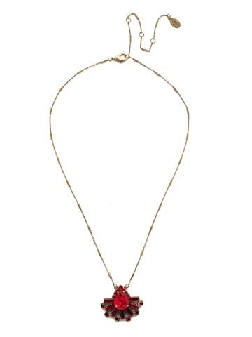 Osha Pendant Necklace in Antique Gold-tone Sansa Red