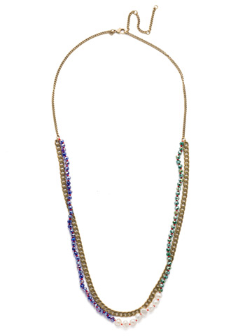Brienne Long Strand Necklace in Antique Gold-tone Game of Jewel Tones