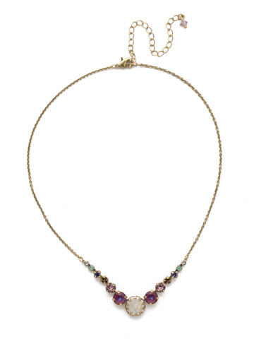 Meera Classic Necklace in Antique Gold-tone Iris Bloom
