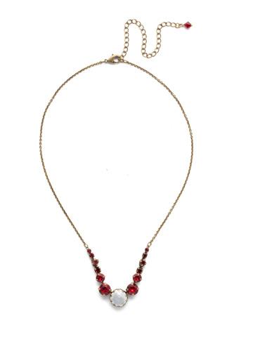 Meera Classic Necklace in Antique Gold-tone Sansa Red
