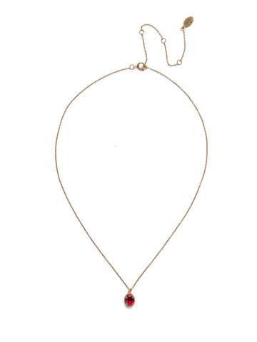 Maisie Pendant Necklace in Antique Gold-tone Sansa Red