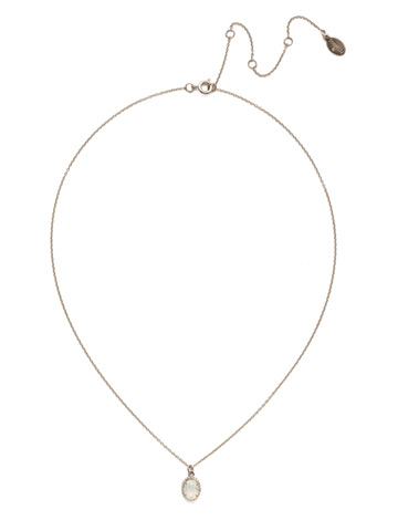Maisie Pendant Necklace in Antique Silver-tone White Opal