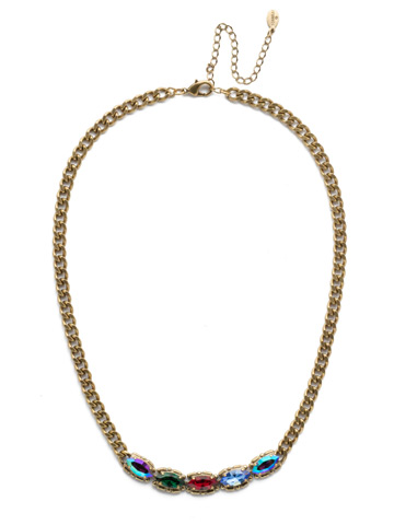 Yara Classic Necklace in Antique Gold-tone Game of Jewel Tones