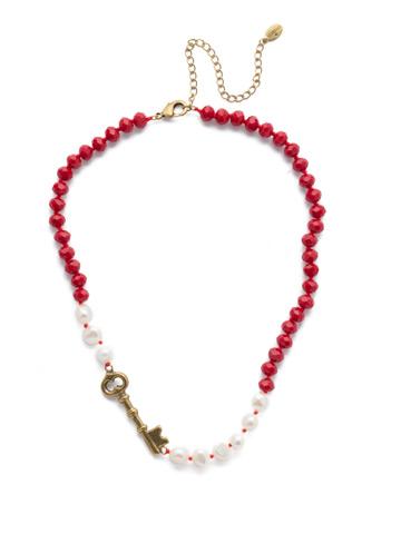 Eilidh Classic Necklace in Antique Gold-tone Sansa Red