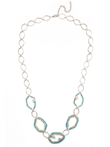 Seascape Long Strand Necklace in Rhodium Tahitian Treat
