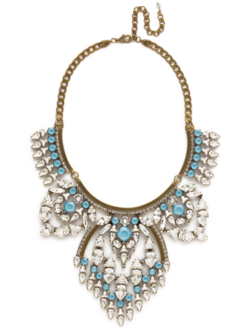 Tribal Statement Necklace in Antique Gold-tone Denim Blue