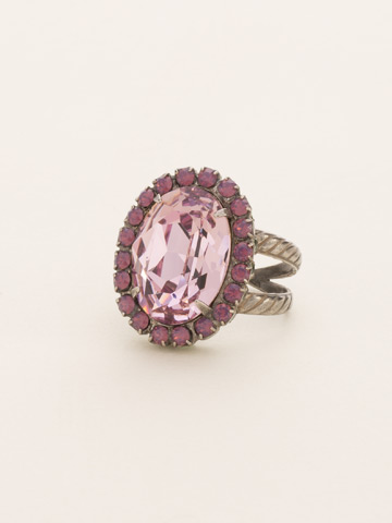 Glamorous Oval-Cut Crystal Ring in Antique Silver-tone African Violet
