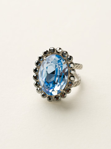Glamorous Oval-Cut Crystal Ring in Antique Silver-tone Ice Blue