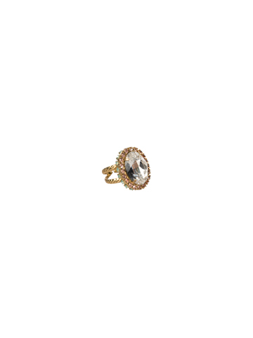 Glamorous Oval-Cut Crystal Ring in Bright Gold-tone Coral Reef