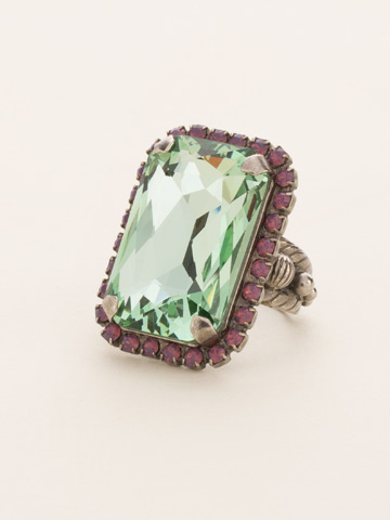 Luxurious Emerald-Cut Cocktail Ring in Antique Silver-tone African Violet