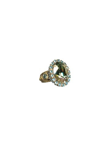 Oval Crystal Cocktail Ring in Antique Gold-tone Aqua Bubbles