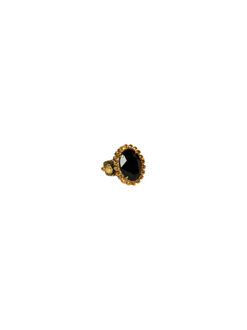 Oval Crystal Cocktail Ring in Antique Gold-tone Golden Tradition