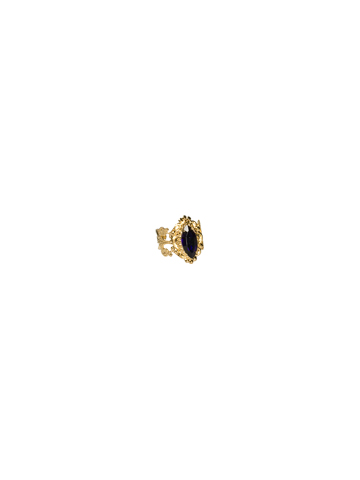 Antique Inspired Marquis Cocktail Ring in Bright Gold-tone Lapis