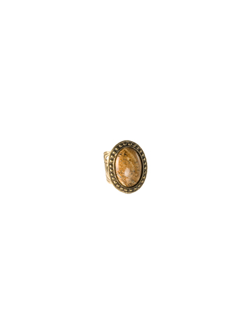 Large Oval Cocktail Ring in Antique Gold-tone City Neutral
