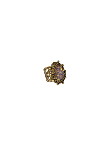 Royalty Oval Ring in Antique Gold-tone Water Lily