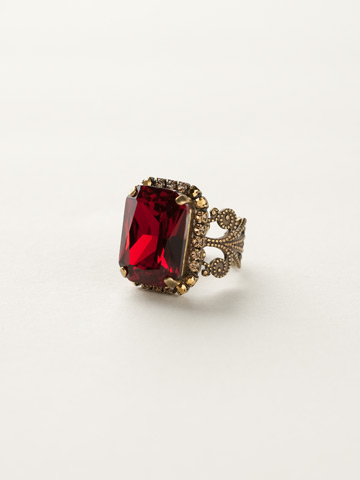 Petite Emerald-Cut Ring in Antique Gold-tone Go Garnet