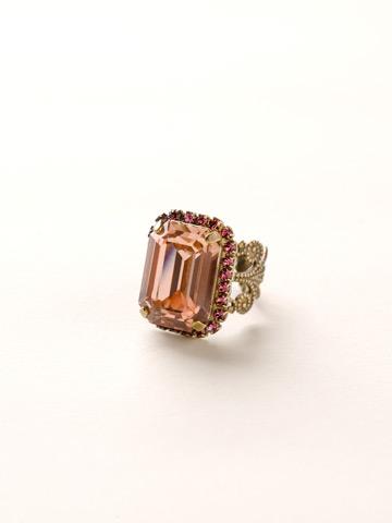 Petite Emerald-Cut Ring in Antique Gold-tone Sundance