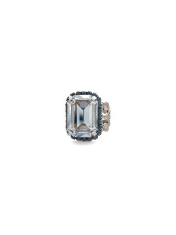 Petite Emerald-Cut Ring in Antique Silver-tone Blue Brocade