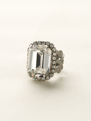 Petite Emerald-Cut Ring in Antique Silver-tone Crystal