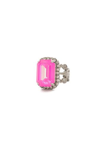 Petite Emerald-Cut Ring in Antique Silver-tone Pink Mutiny