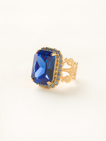 Petite Emerald-Cut Ring in Bright Gold-tone Sweet Sapphire