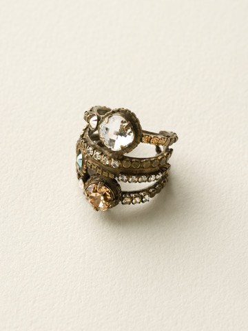Stacked Crystal Ring in Antique Gold-tone Neutral Territory