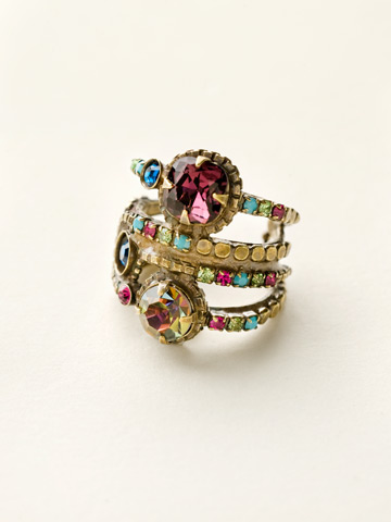 Stacked Crystal Ring in Antique Gold-tone Southwest Brights