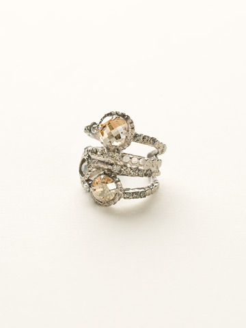 Stacked Crystal Ring in Antique Silver-tone Golden Shadow