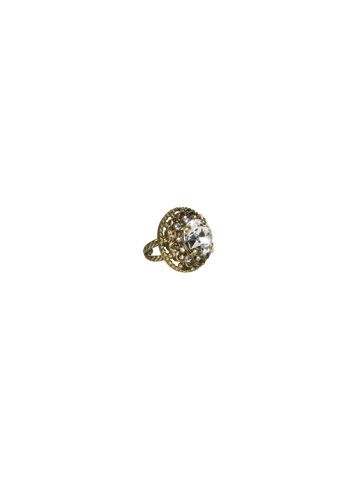 Stone-Studded Ring in Antique Gold-tone Stardust