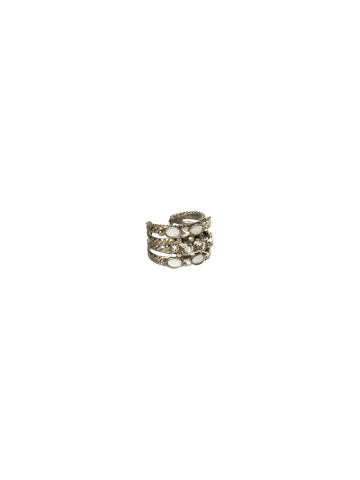 Braided Double Stacked Ring in Antique Silver-tone Crystal Clear