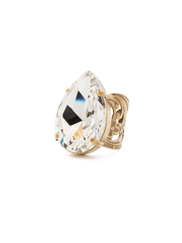 Teardrop Crystal Ring in Antique Gold-tone Crystal