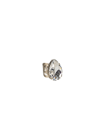 Teardrop Crystal Ring in Antique Silver-tone White Bridal