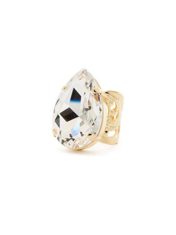 Teardrop Crystal Ring in Bright Gold-tone Crystal